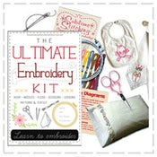 Image of Ultimate Embroidery Kit including Black Apple pattern & teatowel