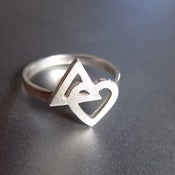Image of Heart meets the Delta - Geometric- Handmade Silver Ring