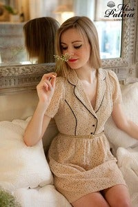 Image of Miss Milkshake Elegant Chic Lace Contrast Lined Dress (Beige)