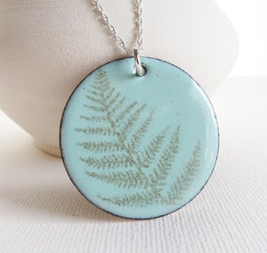 Image of Robin's Egg Blue Fern Enamel Print Necklace