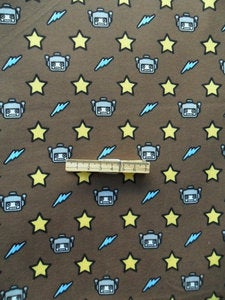 Image of Robot Print Knit Fabric in Brown - 100% Cotton - Jersey KNIT - Pre-Cut 80cm