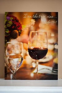 "Image of Wine Image with Verse 11"" x 14"" Standout Professionally Printed on Metallic Paper"
