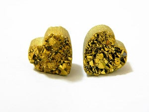 Image of Gold Moon Rock Heart Studs