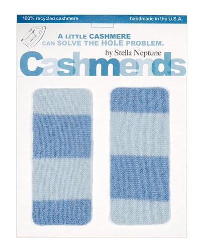 Image of Iron-on Cashmere Elbow Patches - BLUE STRIPES - Limited Edition!