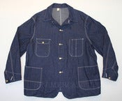 Image of Vintage 1950s Montgomery Ward PIONEER Blue Bell Indigo Denim Chore Jacket 48 NOS Deadstock w Tags