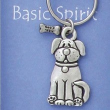 Image of Dog with Bone Pewter Keychain