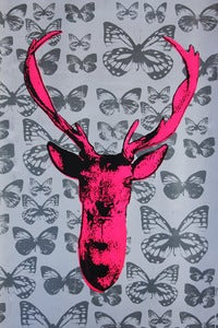 Image of Deer Hunter print Pink with silver butterflies Surrealism  Screen Print  Lowbrow  Art 