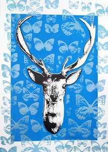 Image of Deer Hunter print  Surrealism  Screen Print  Lowbrow  funky whimsical Art 