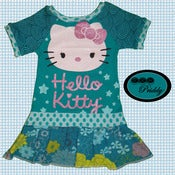 Image of **WIN VIA FORTY TOES GIVEAWAY** Hello Kitty Dress Glitter blue-green design - Size 2/3T