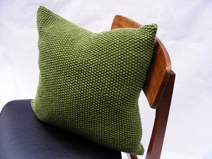 Image of Hand Knit Moss Stitch Cushion (Apple Green)(45x45cm)