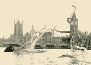 Image of Gaia Octopus at Westminster  Pop Surreal SteamPunk High Quality Silkscreen Print Art Surrealism 