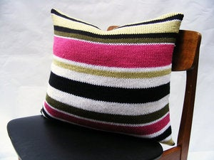 Image of Hand Knit Cushion 50 x 50cm - cerise stripe