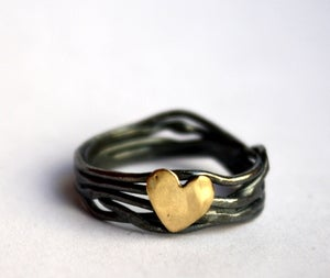 Image of Custom Made Sterling Silver Nest Ring with Heart