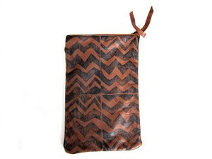 Image of Medium brown/black zig zag hand-printed leather long pouch
