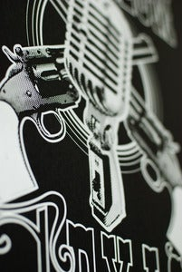 Image of Deep Ellum Texas Pistols and Mic Screen Print