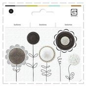 Image of Assorted pack of 5 buttons in Black & White tones - 1/2 price!