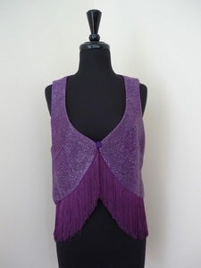 Image of 60s purple cellophane lam fringed vest
