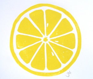 Image of lemon - 8x10 linocut print - yellow