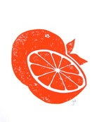 Image of oranges - 8x10 block print - orange
