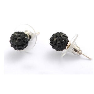 Image of Swarovski Black Crystal Disco Ball Earrings, Stud or Hang Style