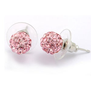 Image of Swarovski Elements Rose pink Crystal Ball Earrings, Stud Style