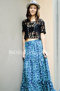 Image of Ladies Midnight Garden Tiered Maxi Skirt