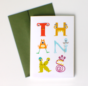 Image of monster thank you cards