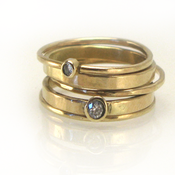 Image of 14k gold and diamond stacking rings
