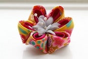 Image of Yellow and Pink Kanzashi Flower Brooch Pin: Kanzashi Corsage in Yellow and Fuchsia