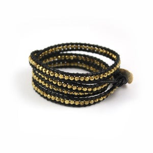 Image of CARBON Leather Wrap Bracelet
