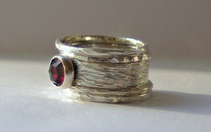Image of Unique Rustic Earthy Stacking Renaissance Wedding / Engagement Rings Sterling Silver and Garnet