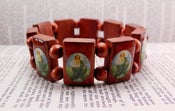Image of Twilight Saga Saint Jude Protection Bracelet-square w/oval image -Cherry Wood