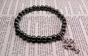 Image of Hematite Black Beaded With Cross Charm