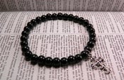 Image of Christian Black Beaded Cross Charm Bracelet