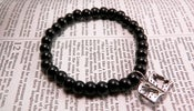 Image of Black Beaded Bible Charm Bracelet