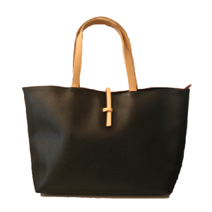 Image of Beige Black Oversized Shoulder Bag