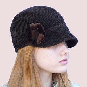 Image of Cherry Blossom Corduroy Cap, Black Coffee