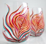 Image of Neon Peacock Feather Stemless Glasses-Set of 2