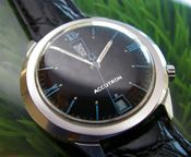 Image of VINTAGE BULOVA ACCUTRON BLUE BLACK UP DOWN - SOLD