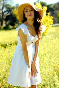 Image of White Sweet Heart Neckline Midriff Cut Out Dress - Made to Order
