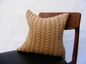 Image of Hand Knit Cushion 40 x 40cm - ecru cable knit