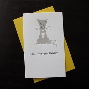 Image of 1209 - ratatat letterpress birthday card belated