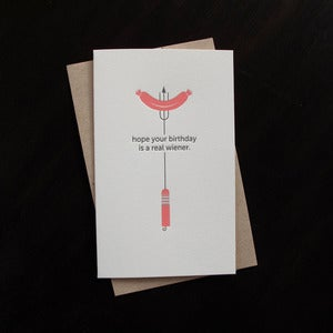 Image of 1211 - hot dog letterpress birthday card 