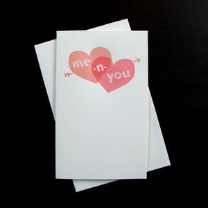 Image of 1405 - me -n- you letterpress love card