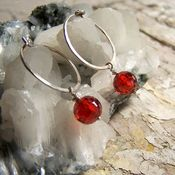 Image of Mini Hoops- Silver, Crimson