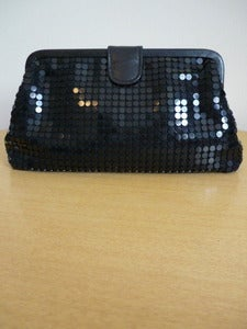Image of black paillette clutch handbag