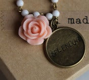 "Image of Handstamped ""Splendor"" Charm and Peach Rose Bracelet"