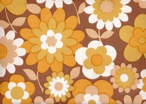 Image of Vintage 70s Brown Flower Wallpaper, price is per Metre
