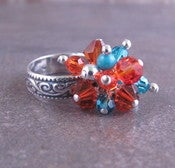 Image of Cluster Ring Tangerine and Turquoise