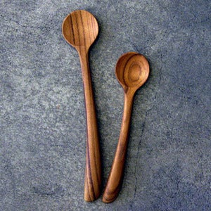 Image of teak tasting spoon set
